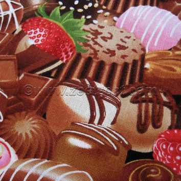 Timeless Treasures CHOCOLATES CANDY Chocolate Brown Cotton Quilt Fabric - by the Fq, Half Yard, or Yard Valentine's Day VALENTINE