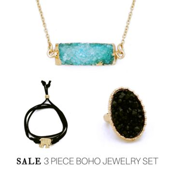 Sale: 3 Piece Jewelry Set, Aqua Rectangle Druzy Necklace, Black Stretch Druzy Ring, Elephant Wrap Faux Suede Bracelet