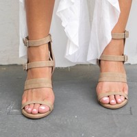 Choose Honesty Camel Strappy Heels