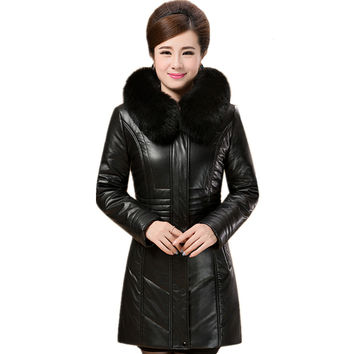 2016 New Women's Winter Jacket Female Thick Fur Collar Warm Alpaca Fiber PU Jackets Slim Winter Coat Women Winter Parka L-6XL