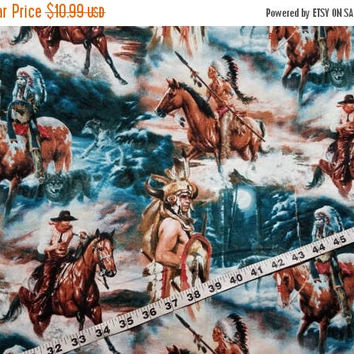 Western fabric Native American Indian headdress Cowboy horse cotton quilt sewing material sew by the yard crafting BTY cowboys and indians