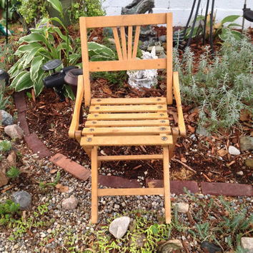 Czech Wooden Folding Chair Child Size Vintage Camping, Doll Props, Shabby Cottage Decor