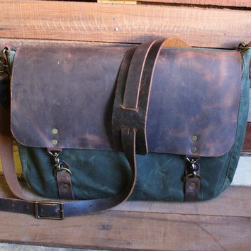 Wax Canvas and Leather Messenger Bag
