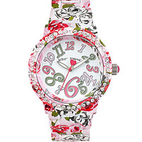 Betsey Johnson Multi-Colored Floral Case Bracelet Watch - Pink