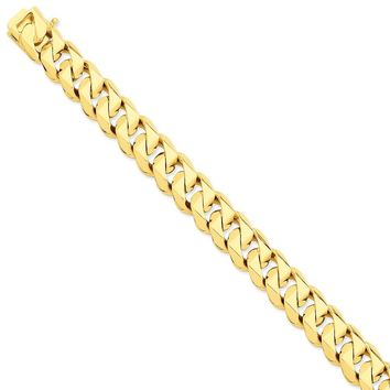 14k Yellow Gold 14.00mm Men Traditional Curb Chain Bracelet - Fine Jewelry Gift