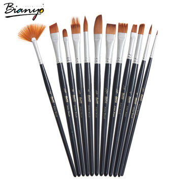 12Pcs Different Shape Nylon Hair Watercolor Paint Brush Set For School Student Gifts Acrylic Drawing Brushes Art Supplies