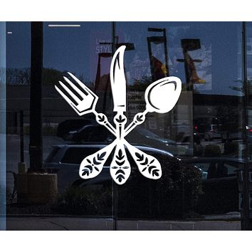 Window Sign for Business Vinyl Decal Cutlery Spoon Fork Knife Design Cafe Restaurant Wall Sticker (n584w)