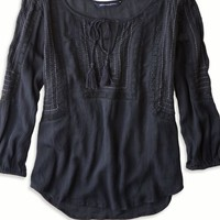AEO Women's Tassel Peasant Top (Ebony Grey)