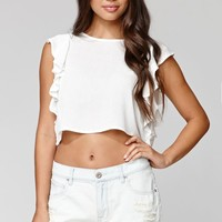 Lucca Couture Flutter Top - Womens Shirts - White