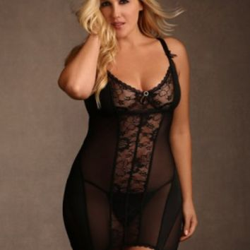 Plus Size Lace and Mesh Chemise | Hips & Curves