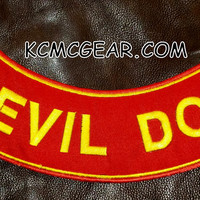 DEVIL DOG Yellow on Red with Boarder Bottom Rocker Patches for Vest BR433