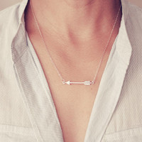 Silver Arrow Necklace For Women Charm Chain Necklace Simple pendant necklace XL001