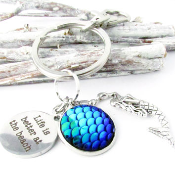 Mermaid Quote Keychain - Life is Better at the Beach
