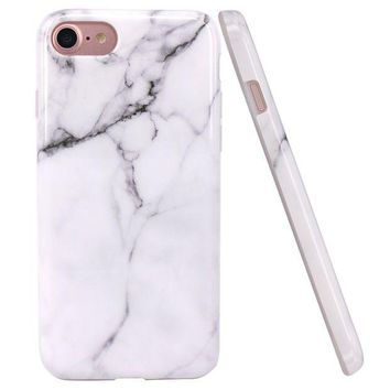 DCK4S2 iPhone 7 Case, iPhone 8 Case, JAHOLAN White Marble Design Clear Bumper Glossy TPU Soft Rubber Silicone Cover Phone Case for Apple iPhone 7 / iPhone 8
