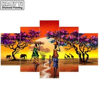DCCKION Full drill 5D DIY diamond embroidery African woman landscape square diamond painting Cross Stitch Rhinestone mosaic decoration