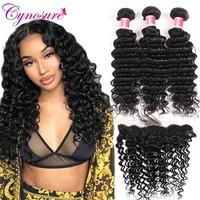 Cynosure Deep Wave Bundles with Frontal Human Hair 3 Bundles With Closure Brazilian Hair Weave Bundles With Frontal Closure