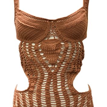 Indah Fonda Crochet One Piece in Dusty Rose