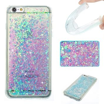 iPhone 6s Plus Case,iPhone 6 Plus Case,DAMONDY 3D Cute Bling Liquid Glitter Floating Quicksand Diamond Water Flowing Ultra Clear Soft TPU Case for iPhone 6s Plus 5.5 Inch ONLY -sliver blue star