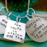 Bible Verse Jewelry, Proverbs 31 26, Mother Jewelry, Grandmother Jewelry, Hand Stamped Necklace