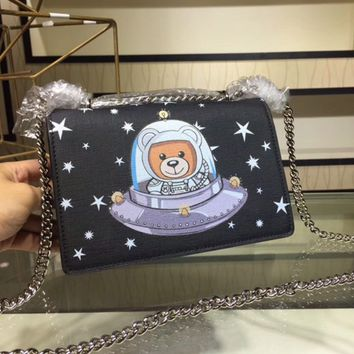 Moschino 2018 autumn and winter new space universe bear wild chain bag Messenger bag black