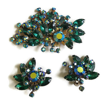 Vintage Spray Floral Brooch or Pendant and Earrings Set in Blue & Emerald Green and Aurora Borealis Rhinestones