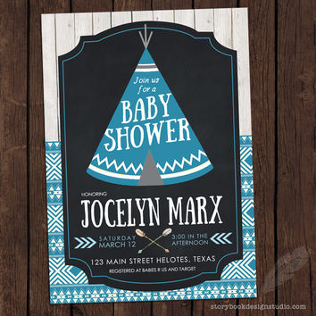 Teepee Baby Shower Invitations Blue