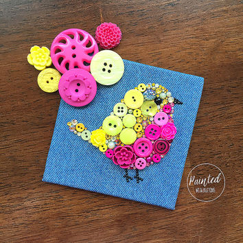 Button Art - Pink Baby Bird - Handmade Vintage Button Artwork, Bird Wall Hanging, Home Decor, Nursery Decor, Button Bird, Bird Wall Decor