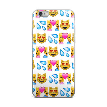 Boy & Girl In Love Water & Heart Eyes Cat Emoji Collage Cute Girly Girl White iPhone 4 4s 5 5s 5C 6 6s 6 Plus 6s Plus 7 & 7 Plus Case