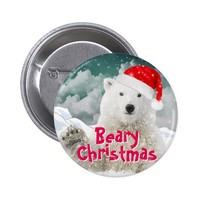 Santa Polar Bear | Beary Christmas Button Pin