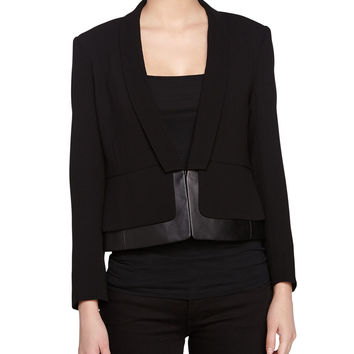 Long-Sleeve Leather-Trim Jacket, Black, Size: LARGE, BLACK - Halston Heritage