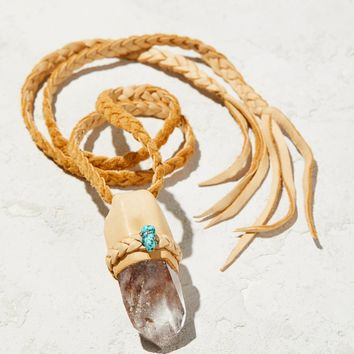 Free People Phantom Turquoise Leather Quartz Pendant