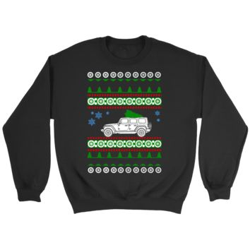 Jeep Wrangler 4 door ugly christmas sweater, hoodie and long sleeve t-shirt