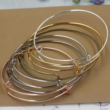30pcs/Lot Alloy Adjusted Antique Bronze/Black/Gold/Silver Color wire Bracelet Vintage Bangle for beading charms DIY Jewelry