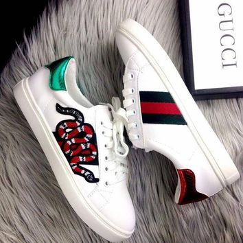 Gucci Old Skool Women Fashion Snake Embroidery Sneakers Sport Shoes H 8-3
