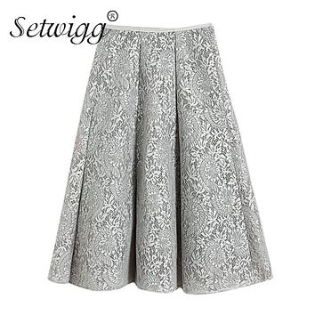 SETWIGG Spring Floral Lace Ball Pleated Midi Skirt High Quality Vintage 3D Lace Lined Flare Knee Tutu Skirts