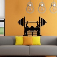 Wall Decals Weight Lifting Sport Decal Vinyl Sticker Gym Workout Home Decor Interior Window Decal Bedroom Dorm Living Room Art Murals Chu1310