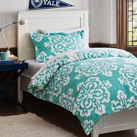 Ikat Medallion Essential Duvet Value Bedding Set, Pool