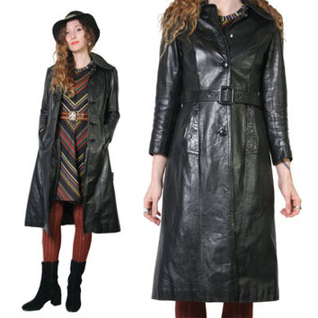 Stunning Black Leather Trench Coat - 70s Vintage - Long Leather Jacket - Penny Lane - Boho Witch Witchy Goth - Womens Jacket - Size Small
