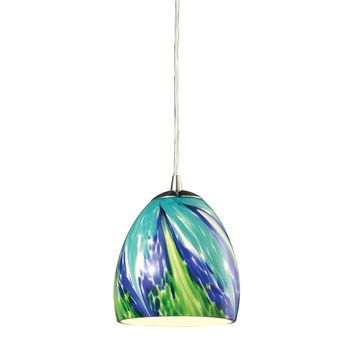 31445/1TB Colorwave 1 Light Pendant In Satin Nickel And Tropics Glass - Free Shipping!