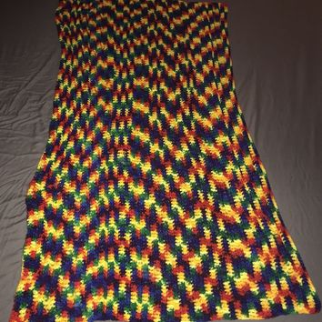 70s Vintage Afghan Granny Blanket Lap Throw Multi Crochet Rainbow 30x57 Hygee