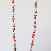 SALE 20% OFF Gorgeous coral red necklace - painted wood beads and ceramic beads red necklace - red artisan necklace - teen necklace 31""