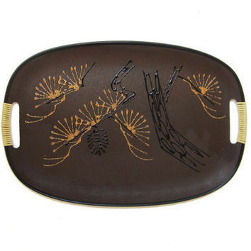 Vintage mid century 1960s retro brown resin japanese serving tray