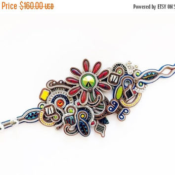 On SALE Soutache bracelet. Statement soutache jewelry. Soutache handmade bracelet. Soutache handmade jewelry.