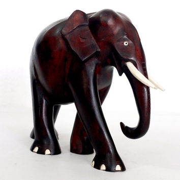 Exclusive Elephant Figurine - Hand wood Mahogany colored carved from old Sri Lanka technology