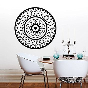 Wall Decal Vinyl Sticker Decals Art Home Decor Murals Decal Mandala Ornament Indian Geometric Moroccan Pattern Yoga Namaste Flower Lotus Flower Buddha Om Ganesh Bathroom Bedroom Dorm Decals AN275
