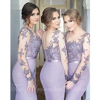 Lavender Long Sleeves Lace Mermaid Bridesmaid Dresses Sheer Neck Appliques Light Purple Brides Maid Gowns Wedding Party Dress