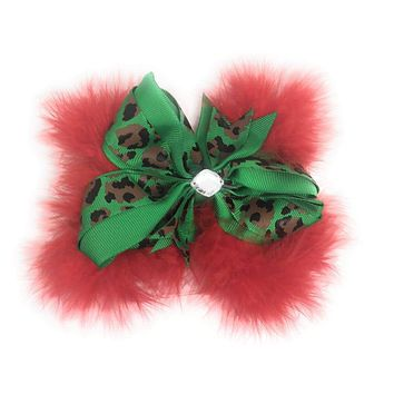 Girls Marabou Leopard Christmas Hair Bow