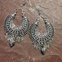 Silver Chandelier Earrings, Bohemian, Hippie, Gypsy, Handmade, Jewelry