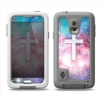 The Vector White Cross v2 over Colorful Neon Space Nebula Samsung Galaxy S5 LifeProof Fre Case Skin Set