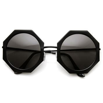 Womens Oversize Metal Geometric Octagon Round Sunglasses 9316